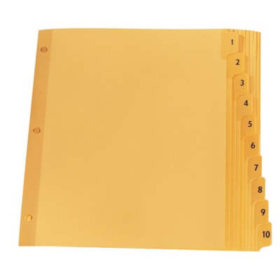 """Oxford Premium Series Numerical Tab Dividers, Numbered 1-10, Buff, 8 1/2"""" x 11"""", 10-Tabs/ST, 1-Set/PK STOCK MYLAR REINFORCED TABS & HOLES 10% PCW"""