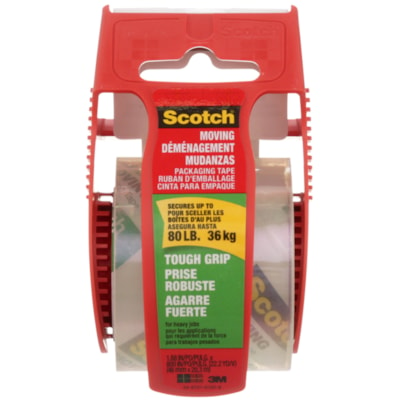 Scotch® Tough Grip Moving and Packaging Tape with Dispenser, 48 mm x 20.3 m W/DISP 48MMX20.3M