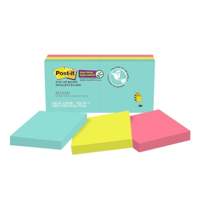 """Post-it Original Super Sticky Pop-Up Notes in Miami Collection Colours, Unlined, 3"""" x 3"""", 90 Sheets/Pad, 6 Pads/PK 3""""X3""""  6PACK"""
