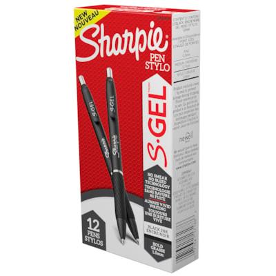 Stylos à pointe rétractable S-Gel Sharpie, noir, pointe épaisse de 1,0 mm