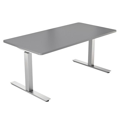 """ergoCentric upCentric Electric Height-Adjustable Tabletop TWO 3"""" GROMMET HOLES CHARCOAL GREY HPL"""