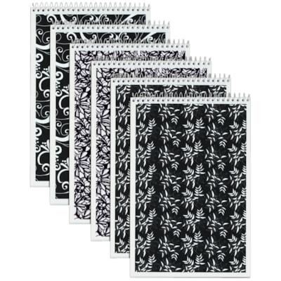 "TOPS Designer Steno Book, 6"" x 9"", 80 Sheets/Book 6""X9""  GREGG RULE  WHITE  80 S ASST BLACK&WHITE COVER DESIGNS"