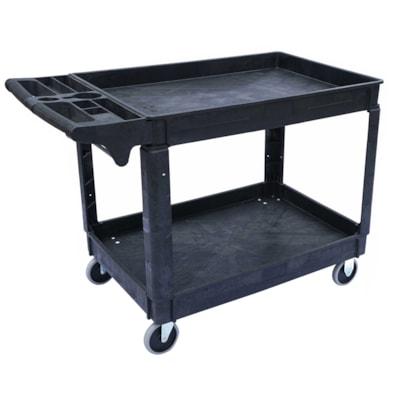 Globe Commercial Products Heavy-Duty Lipped Shelf Utility Cart, Black, 550 lb Capacity 46-3/4 X 25-1/2 X 33-1/2 HD LIPPED SHELF