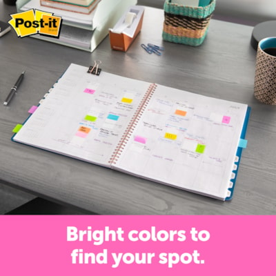 """Post-it Standard Flags with On-The-Go Dispenser, Electric Glow, 1"""" x 1 7/10"""", 10 Flags/Colour, 6 Colours/PK ELECTRIC GLOW COLOURS 60 FLAGS - ALTERNATING COLOURS"""