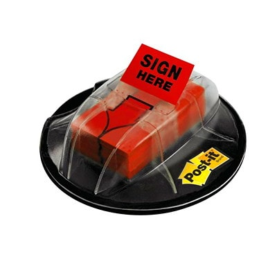 """Post-it 1"""" Pre-Printed """"Sign Here"""" Arrow Message Flags in a Desk-Grip Dispenser, Red, 200 Flags/PK RED COLOUR 1"""" X 1.7"""""""