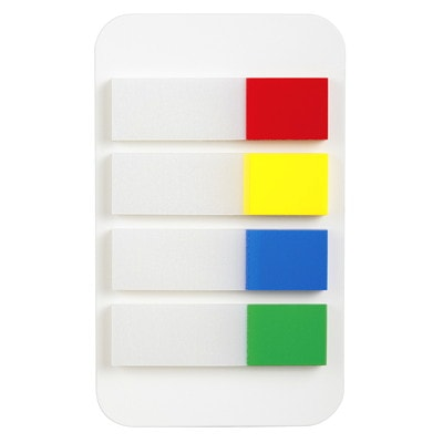 """Grand & Toy Self-Stick Writable Flags, Primary Colours, 1/2"""", 4/PK REPLACED 97575"""