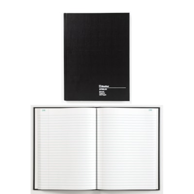"""Blueline A796 Series 10 1/4"""" x 7 11/16"""" Account Book STIFF BLK COVER WHT PAPER 200P 30 LINES 50% RECYCLED BLUELINE"""