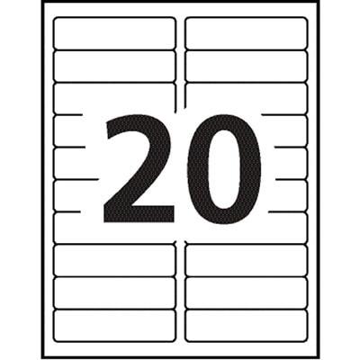 "Avery 5961 Easy Peel Address Labels, White, 1"" x 4"", 20 Labels/Sheet, 250 Sheets/BX 4 X 1 PERMANENT ADHESIVE 5000/BOX AVERY 20LB/SHT"