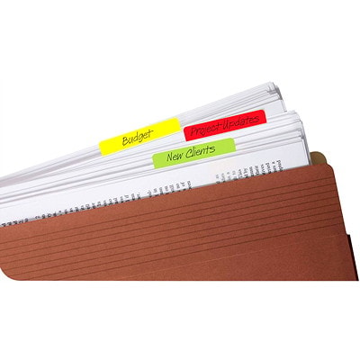 """Post-it Durable Filing Tabs, Assorted Colours, 2"""" x 1 1/2"""", 24/PK FASHION COLOUR ASSORTED"""