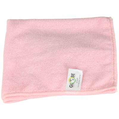 """Globe Commercial Products Microfibre Cloths, Pink, 16"""" x 16"""", 10/PK WITHSTANDS HUNDREDS OF WASHES GREEN CLEANING -  240GSM"""