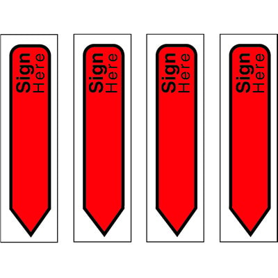 """Post-it """"Sign Here"""" Message Flags, Red, 1/2"""" x 1 7/10"""", 80 Flags/PK"""