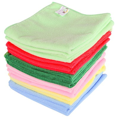 """Globe Commercial Products Microfibre Cloths, Green, 14"""" x 14"""", 10/PK WITHSTANDS HUNDREDS OF WASHES GREEN CLEANING -  240GSM"""
