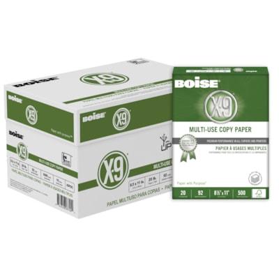 "Boise X-9 Multi-Use Copy Paper, FSC Certified, 20 lb., White, Letter-size (8 1/2"" x 11""), Ream 92 BRIGHT  20LB  8 1/2X11"