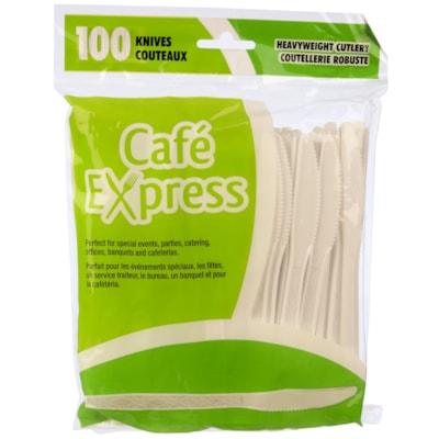 Café Express Heavyweight Plastic Utensils/Cutlery, Knives, White, 100/PK CAFÉ EXPRESS 100% RECYCLABLE FLEXIBLE