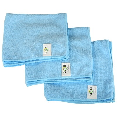 """Globe Commercial Products Microfibre Cloths, Blue, 14"""" x 14"""", 10/PK WITHSTANDS HUNDREDS OF WASHES GREEN CLEANING -  240GSM"""