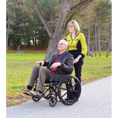 """BIOS Living 18"""" Folding Wheelchair, Black and Silver SEAT WIDTH: 18  / 45.5 CM WEIGHT CAPACITY 300LBS"""