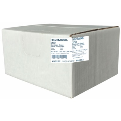 """HighMark Industrial Garbage Bags, Clear, 30"""" x 38"""", Strong Strength, Case of 200 GARBAGE BAGS  200/CASE"""