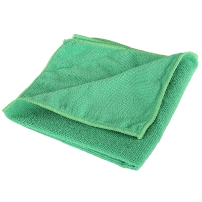 "Globe Commercial Products Microfibre Cloths, Green, 16"" x 16"", 10/PK WITHSTANDS HUNDREDS OF WASHES GREEN CLEANING -  240GSM"