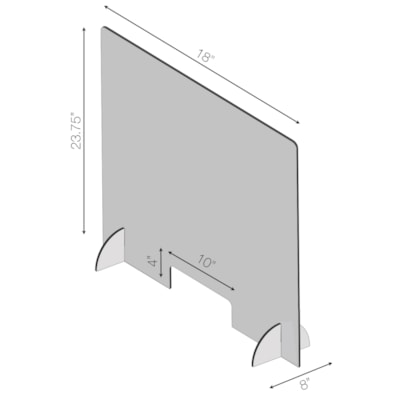 "Écran de protection de comptoir en acrylique avec ouverture Sterling, 18 po L x 1/8 po P x 23 3/4 po H 18""W X 23.75""H X 1/8"" 4""X 10"" OPENING  8"" LONG FEET"