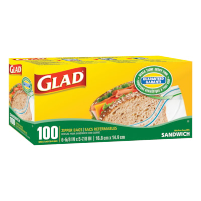 Glad Zipper Sandwich Bags, Box of 100 100PACK RESEALABLE BAGS