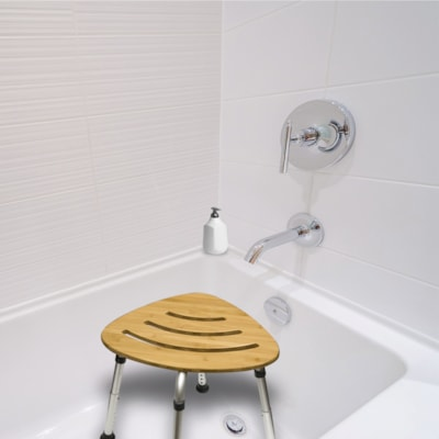 Tabouret de bain en bambou BIOS Living PIEDS ALUMINIUM SANS ROUILLE CAPACITé DE POIDS 300LB/136KG