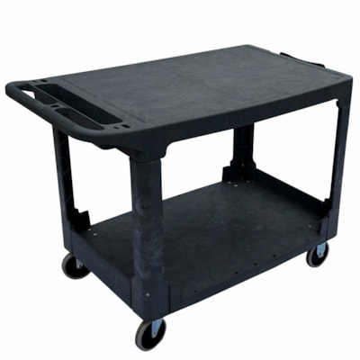 Globe Commercial Products Heavy-Duty Flat Shelf Utility Cart, Black, 550 lb Capacity 550LB CAP 44 X 25-1/4 X 32-1/4 FLAT LIPPED SHELF