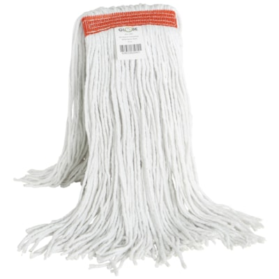 Globe Commercial Products Synthetic Wet Mop With Narrow Band And Cut End, 20 oz CUT END WHITE NOT LAUNDERABLE