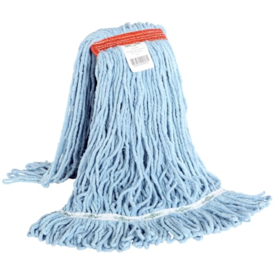 Globe Commercial Products Synthetic Looped End Wet Mop Head With Narrow Band, 20 oz NARROW BAND BLUE TRUE WEIGHT MOP