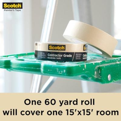"""Scotch 2020 Contractor Grade Masking Tape, Tan, 24 mm x 55 m, 6 Rolls/PK  0.94"""" X 60.1' (24MM X 55M) 6 ROLLS/PACK"""