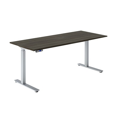 HDL Olympus Electric Height-Adjustable Table 2-Leg Base, Silver SILVER FINISH 27.75 TO 45.5 H ADJUST