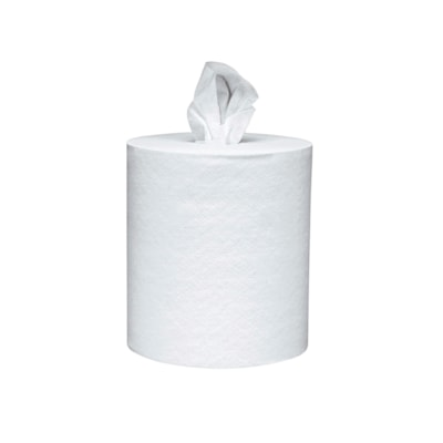 """Essuie-mains blancs pour distributeur à sortie centrale Scott 2-PLY 8""""X15"""" 500 SHEETS/ROLL 4 ROLLS/CASE"""