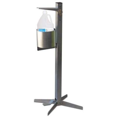 Northern Specialty Supplies Industrial Pedal Activated Sanitizer Dispenser, Steel Finish, 3.78 L Capacity HOLDS 3.78L BOTTLE STEEL FINISH