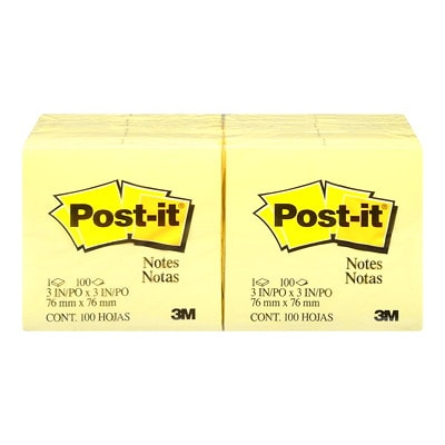"""Post-it Original Notes, Canary Yellow, 3"""" x 3"""", Pad of 100 Sheets REMOVABLE STICKS TO MOST SURFACES 100/PAD"""