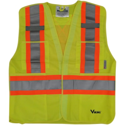 Viking 5-Point Tear Away Bright Green L/XL Safety Vest CLASS 2 LEVEL 2 5PT TEARAWAY HI-VIS GREEN
