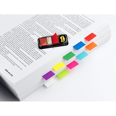 """Post-it Standard Flags, Yellow, 1"""" x 1 7/10"""", 50/PK REMOVABLE TRANSPARENT TO MARK YOUR PLACE 50/DISPENSER"""