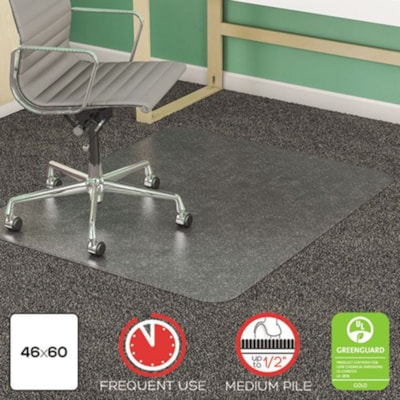 """Deflecto EconoMat Studded-Back Vinyl Chairmat for Low Pile Carpets, Clear, 46"""" x 60"""" (CM11442F) FOR LOW PILE CARPET W/O PADDNG CLEAR VINYL"""