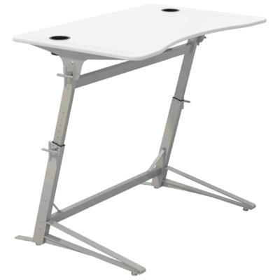 Safco Verve Standing Desk, White Tabletop/Silver Base HEIGHT ADJUSTABLE SILVER BASE  WHITE TOP