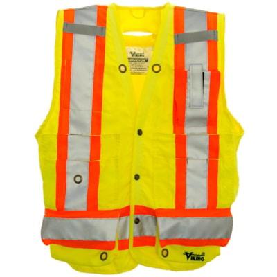 Veste de sécurité d'arpenteur vert vif Viking, TTTG CLASS 2 LEVEL 2 13 POCKETS