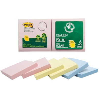 """Post-it Greener Pop-up Notes in Helsinki Colour Collection,  3"""" x 3"""", 100 Sheets/Pad, 6 Pads/PK ASSORTED COLOURS 3"""" X 3"""" 6 PADS/PACK"""