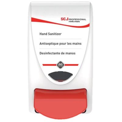 SC Johnson Professional Manual Push-Style Hand Sanitizer Dispenser, White/Red, 1 L Capacity MANUAL  REFILL IFS1L