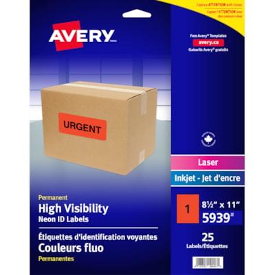 Étiquettes d'identification permanentes et voyantes en couleurs fluo pour imprimantes laser/jet d'encre Avery LASER/JET D'ENCRE 8 1/2 X 11  EMB. DE 25