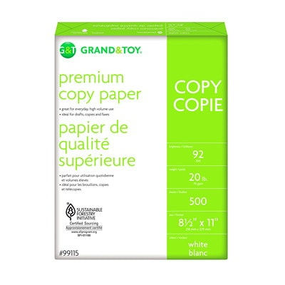 "Grand & Toy Premium Copy Paper, White, Letter-Size (8 1/2"" x 11""), SFI Certified, 20 lb., 5 Reams/CT 8.5X11 92BRIGHT 20LB"