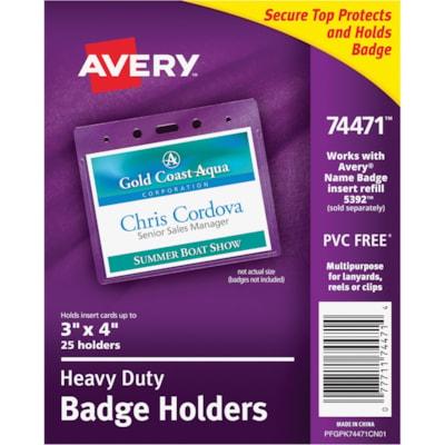 "Avery Heavy Duty Flexible Secure Top Horizontal Name Badge Holders, Clear, 3"" x 4"", 25/PK HORIZONTAL VINYL TOP LOAD"
