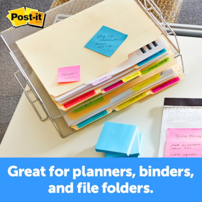 """Post-it Durable Filing Tabs, Assorted Bright Colours, 2"""" x 1 1/2"""", 24/PK BRIGHT  COLOURS 2"""" X 1 1/5"""" 24 TABS/PACK"""