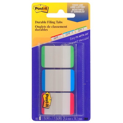 """Post-it 1"""" Durable Filing Tabs with Dispenser EXTRA THICK GREEN BLUE RED WITH SPACE FOR WRITING"""