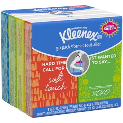 Kleenex 3-Ply Facial Tissue, On-The-Go Pocket Packs, 10 Sheets Each, 8/PK TISSUE 8-PACK WHITE
