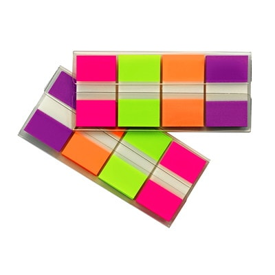 """Post-it Standard Flags with On-The-Go Dispenser, Pink/Green/Orange/Purple, 1"""" x 1 7/10"""", 40 Flags/Colour, 4 Colours/PK 4 COLOURS  (PNK GRN ORG PRL) 40 OF EACH CLR  TOTAL 160 FLGS"""