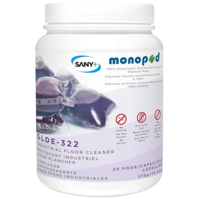 Sany+ MonoPOD Industrial Floor Cleaner, 25 Pods/PK 25 PODS PER PACK GREEN SEAL CERITIFIED