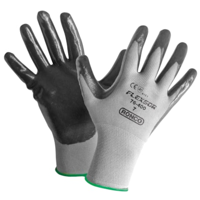Ronco Flexsor Nitrile Palm Coated Gloves, Small, Grey/Green Wrist, 12 Pairs/PK SMALL NITRILE COATED NYLON GLOVES