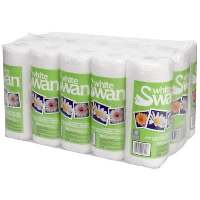 Essuie-mains pour la cuisine 2 épaisseurs de qualité professionnelle emballés sous pellicule plastique White Swan, blanc, caisse de 15 rouleaux 2P P/PACK 70SHT @15